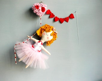 VALENTINE'S DAY Doll + gift coupon 20% Off / Child friendly OOAK Doll - Handmade in Italy