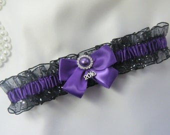 Prom Garter Purple on Black Sparkle Wedding garter tossing Garters