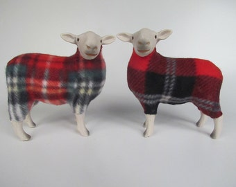 Handcarved Porcelain and Wooly Sheep in Tartan Sweater