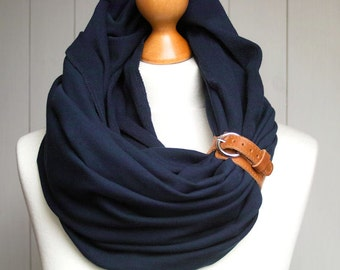 NAVY BLUE Infinity Scarf with leather starp, nautical fashion scarf, marine style, infinity scarf,  with strap, gift ideas