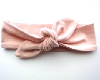 Light Peach Baby Headband - Top Knot Headband - Stretch Headband - Vintage Style - Beach Style Modern Baby - Pale Peach Blush