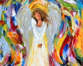 Angel Blessings canvas print on canvas made from image of Original painting by Karen Tarlton