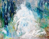 Original Ocean Wave oil painting palette knife texture abstract impressionism on canvas fine art by Karen Tarlton