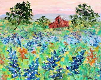 Bluebonnets Texas Hill Country original oil painting abstract palette knife impressionism on canvas fine art by Karen Tarlton