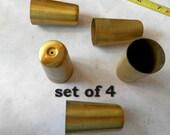 set of 4 nos vintage MCM tappered turned leg brass ferrel end cap