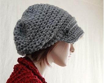 Slouchy Newsboy Hat, Slate Grey Hat, Winter Beanie, Womens Teens Hipster Beanie, Chunky Brim Hat, Slouchy Newsboy Hat Fashion Accessories,