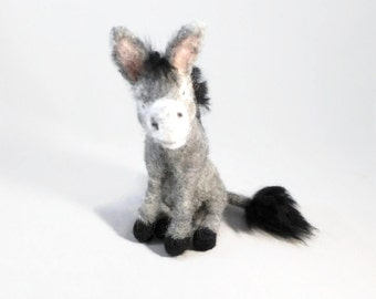 Needle Felted Animal, Felted Animal,  Needle Felted Donkey, Donkey Art, Felted Wool Donkey, Donkey Gift, Felted Burro, Donkey Collectible