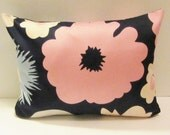 """Marimekko pillow cover in navy/pink/light blue/tan, authentic Marimekko fabric from Finland , 12"""" x 16"""", FREE SHIPPING Canada and US"""