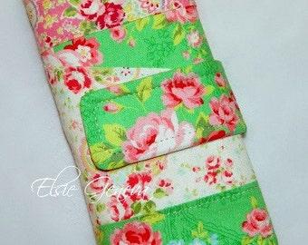 Hemlock Mint Green Jade Roses & Pink Lecien Paisley Crochet Hook Organizer or Make Up Case