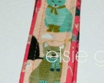 Ready to Ship Cats with Socks Knitting Soft Pink Aqua  Key Fob Wristlet Chain Antique Brass Key Chain