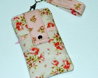 Vintage Roses Phone Case Wristlet or Shoulder Strap iPhone 4 5 6 Plus 6s Samsung Galaxy Note - OR Mauve and Blue Floral - Otterbox