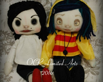 Coraline Other Mother Set Doll Inspired  Creepy cute OOAK Handmade Art doll cloth doll collectible Gothic doll decor gift rag doll