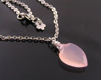 Pink Chalcedony Necklace, Pink Chalcedony Jewelry, Pink Necklace, Pink Gem Necklace, Gem Jewelry, Gift Idea for Women, Pink Jewelry, N1751