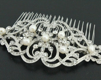 Fresh water pearl Bridal hair comb,Crystal Wedding comb,Rhinestone hair clip,Wedding hair comb,Bridal hair jewelry,Wedding decorative combs