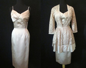 "Stunning 1950's Designer Cocktail Dress with Matching Lace Jacket by ""Molly Modes"" Rockabilly VLV Pinup Girl Hourglass Vixen Size-Medium"