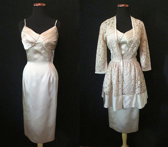 """Stunning 1950's Designer Cocktail Dress with Matching Lace Jacket by """"Molly Modes"""" Rockabilly VLV Pinup Girl Hourglass Vixen Size-Medium"""