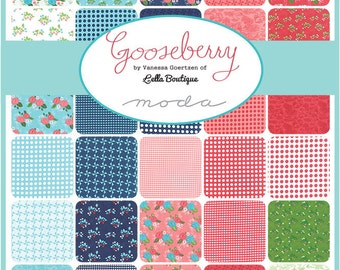 "CLEARANCE - GOOSBERRY Jelly Roll -  Lella Goertzem for Moda - 2.5-Inch Strips - Fabric Strips - 2.5"" Strips - Floral Quilt Fabric"