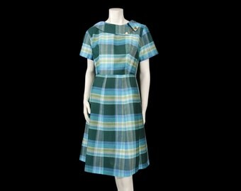 Vintage Late 50s Early 60s Novelty Collar Short Sleeve Dress sz L Blue Green White Plaid Knee Length by Glenbrooke