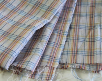 Vintage Cotton Fabric vintage cotton shirting fabric vintage plaid shirting fabric semi-sheer retro plaid shirting vintage dress fabric 1+yd