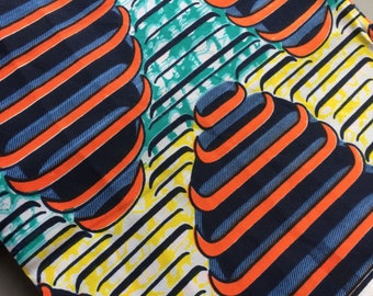 African fabric by the yard, African wax print, fabulous retro style print fabric, yardage sewing dressmaking projects!