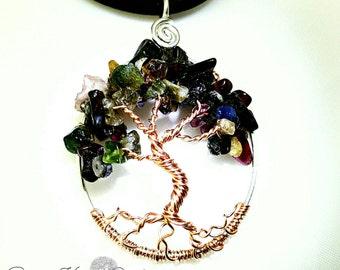 Tourmaline Rose Gold Tree of Life Pendant  on Handmade Sterling Silver Hoop