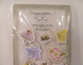 Marjolein Bastin Thumbtacks / Push Pins - Set of 12 - New in Package - Flowers Bees Butterflies - Spring - Easter