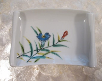 Vintage Small  Tray / Dish -Cornflowers - Decor / Display  Piece - Soap Dish - Business Card Holder - Etc. - Porcelain China -Made in Japan