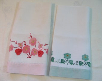 Sweet Pair of Hand Appliqued Linen Hand Towels - Pink Green Red - Floral Design