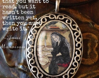 Porcelain Cameo Style Pendant, Crone Goddess,  and Free Cord