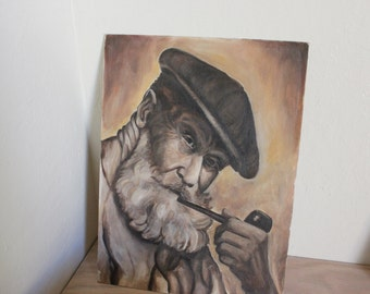 Painting 'Old Man' on Canvas Board - 12 x 16 Signed Claudia Schultz 1976 - Poet Philosopher Pipe Smoker - Manly Man Cave Library