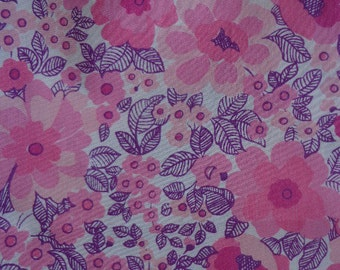 Vintage 1970's Pink and Purple Floral Fabric, Two Yards