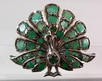 Emerald Peacock Brooch - Figural Brooch For The Bird Lover