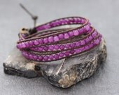 Leather Wrap Brown Amethyst Beaded Bracelet