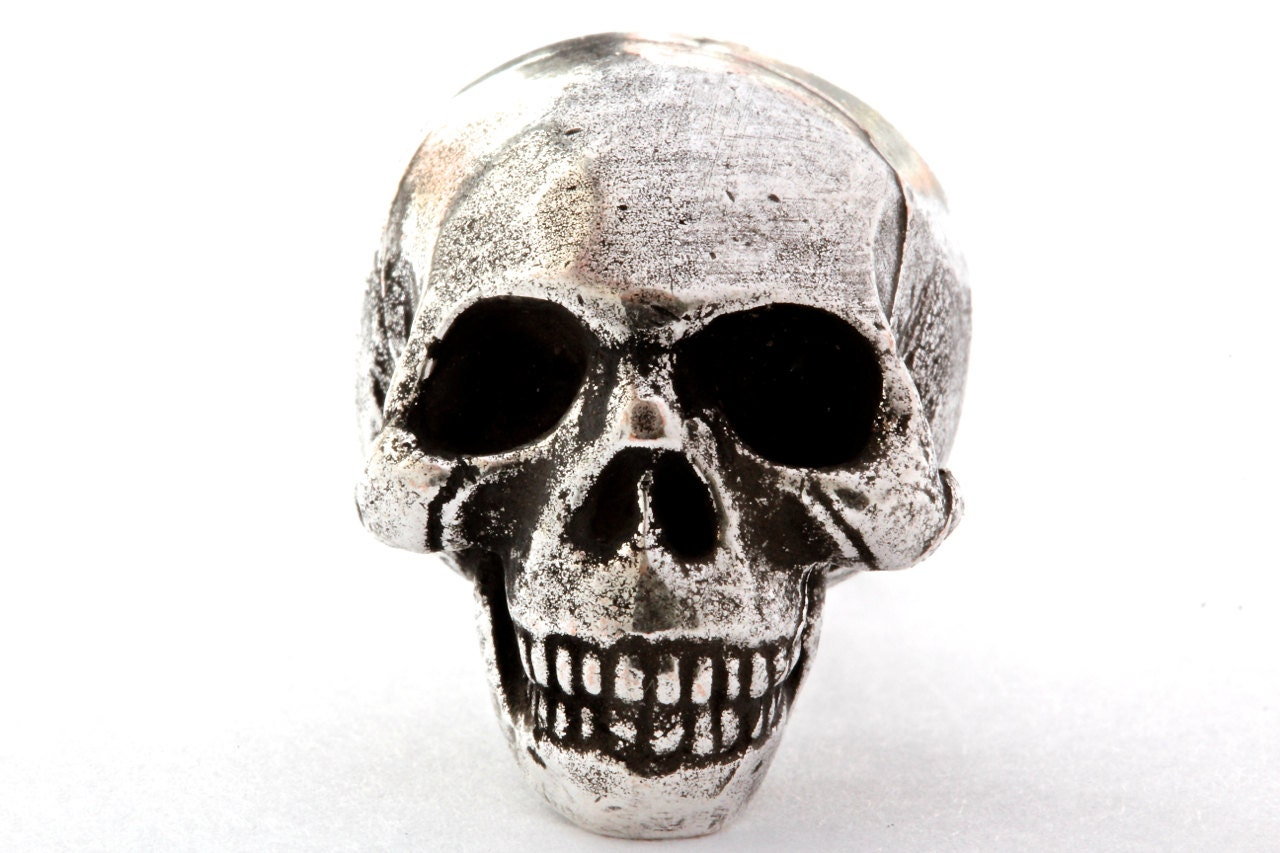 Metal Skull cabinet knob made in NYC silver finish