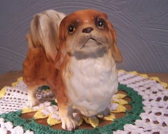 Lefton Pekingese Dog Figurine, Hand Painted Porcelain Bisque, Sticker and Numbered