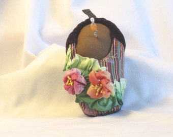 Handmade Pincushion - Soft Sculpture Foot in Striped Goody Goody Slipper - My Right Foot - Chocolate