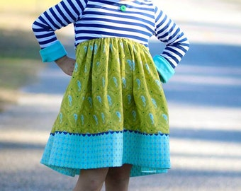 Knit Dress Pattern, Long Sleeve Dress Pattern, Kailua Town Dress, Knit Dress Pattern, Bubble Dress Sewing Pattern, Ruffle Dress Pattern