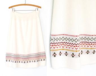 70s Knit Skirt * 1970s Sweater Skirt * Flared Midi Skirt * Large