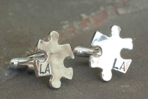 Custom Puzzle Piece Cufflinks, Personalized Cuffs, Custom Jewelry, Personalized for Him, Groomsmen Thank You, Father of the Bride Present