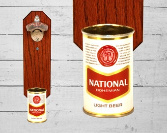 Beer Gifts National Bohemian Wall Mounted Bottle Opener with Vintage 9oz Beer Can Cap Catcher Great for Man Cave