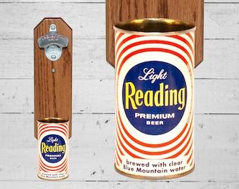 Reading Bottle Opener with Vintage Beer Can Cap Catcher