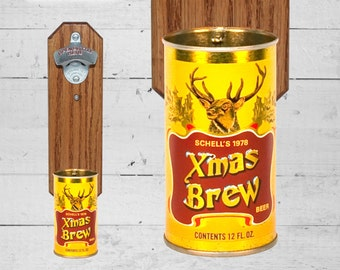 Beer Drinker Gift Christmas Brew Wall Mounted Bottle Opener with Vintage Schell's Xmas Beer Can Cap Catcher