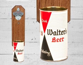 Walter's Wall Mount Bottle Opener with Vintage Beer Can Cap Catcher