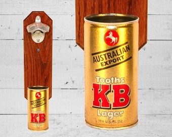 Tooths KB Wall Mounted Bottle Opener with Vintage Australian Lager Beer Can Cap Catcher - Groomsmen Gift