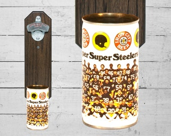 Super Steelers Wall Mounted Bottle Opener with Vintage 1979 Iron City Beer Can Cap Catcher - Great Gift for Guy
