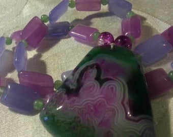 Pink lavender and green colorful fun natural stone pendant necklace