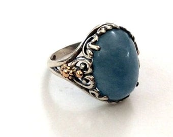 Aquamarine ring, silver yellow gold ring, two toned ring, hippie ring, Gypsy Ring, tribal gemstone ring, bohemian ring - Spring time.R2165