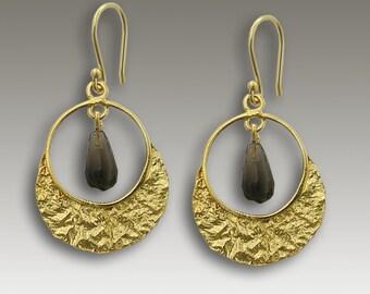 boho earrings, gold earrings, smoky quartz earrings, drop earrings, bohemian earrings, chandelier earrings, hippie - Mystique Cafe EG2122