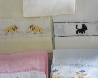 Vintage Linen Hand Towels Embroidered Guest Towels Set of 5 Pastel Colors
