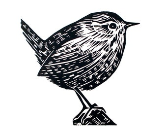 Wren -Original Lino print illustration